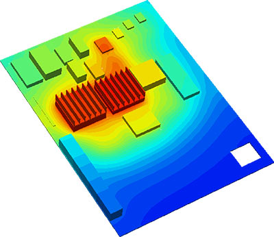 PCB Thermal Design Surface temperatures on an a populated circuit board showing high temperatures associated with the packages fitted with extruded heat sinks. Flow vectors show high flow upstream of the components and between components. Flow is reduced by the blocking effect of the heat sinks which cause a wake in the downstream flow.